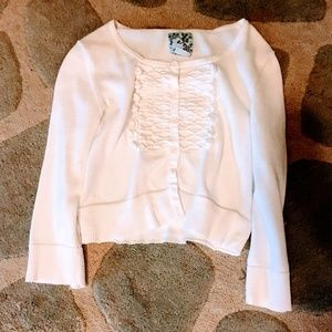 Anthropologie Tabitha White Button Short Cardigan
